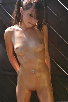 Wet girl with tiny tits